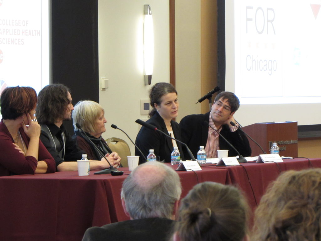 Panel discussion with (L-R) Mary O'Riordan, University of Michigan; Gary McDowell, FoR; KAy Lund, Director of the Office for the Biomedical Research Workforce at NIH; Krisztina Eleki, Chicago Council on Science and Technology; and Richard Harris, NPR. By Natasha Wadlington