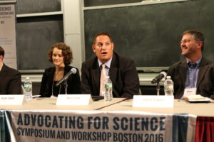 Kate Stoll, Ben Corb and Adam Fegan speaking as part of the panel. Picture by Alina Chan.