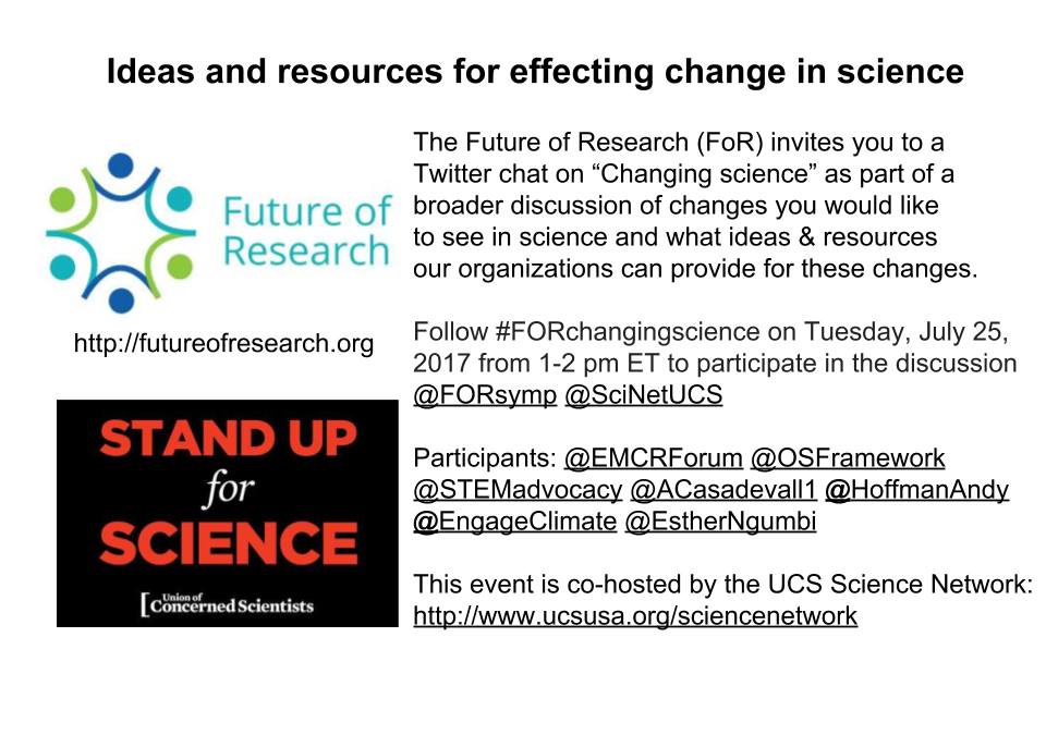 """""""Changing Science"""" Twitter Chat with the Union of Concerned Scientists – July 25th 1-2pm EDT"""